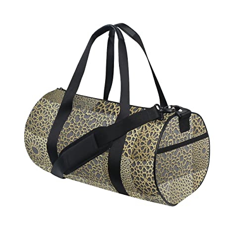 a365e682b8 Naanle Gold Arabic Geometric Frame Pattern East Indian Ornament Gym Bag  Sports Travel Duffle Bags for Men Women Boys Girls Kids  Amazon.ca  Luggage    Bags