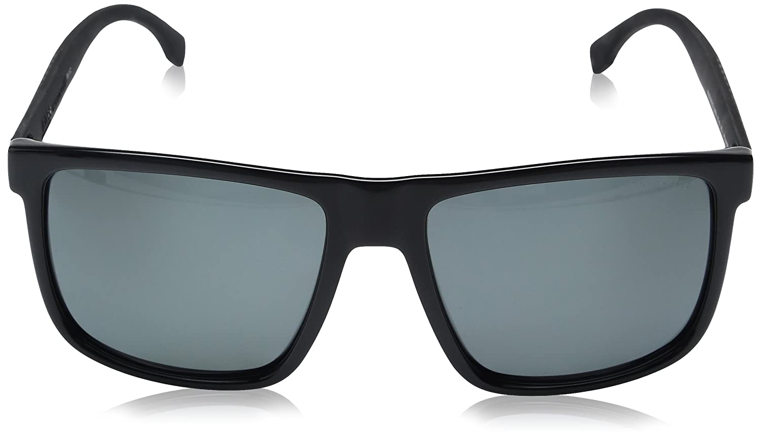 BOSS by Hugo Boss Mens B0879s Rectangular Sunglasses, Shiny Black/Gray Polarized, 57 mm