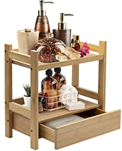 Sorbus Bamboo Makeup Organizer, Multi-Purpose Storage for Skincare, Toiletries, Desktop, Household Items, Display Stand Shelf for Bathroom Vanity Counter, Kitchen, Office (Bamboo Organizer - 2 Tier)