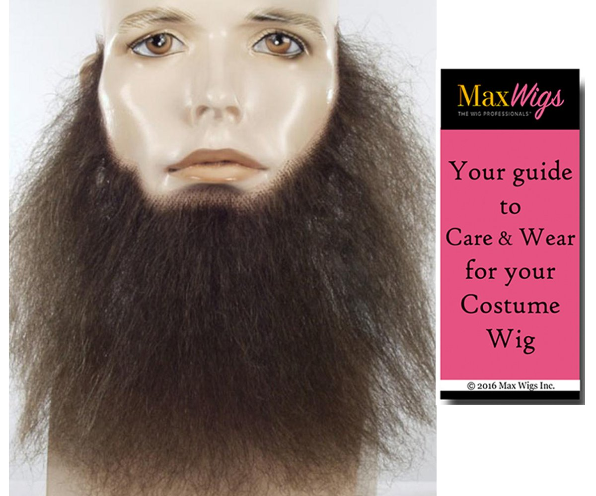 8'' Long Wavy Full Face Beard Color Black - Lacey Wigs Human Hair Duck Dynasty Hand Made Fake Facial Biker Amish Bundle With MaxWigs Costume Wig Care Guide