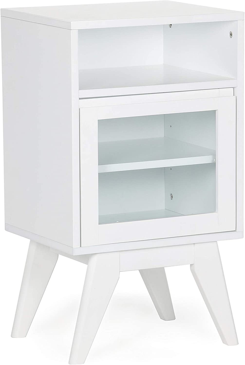 SIMPLIHOME Draper 29.9 inch H x 16.9 inch W Floor Storage Bath Cabinet in Pure White with Storage Compartment and 2 shelves, for the Bathroom, Mid Century Modern