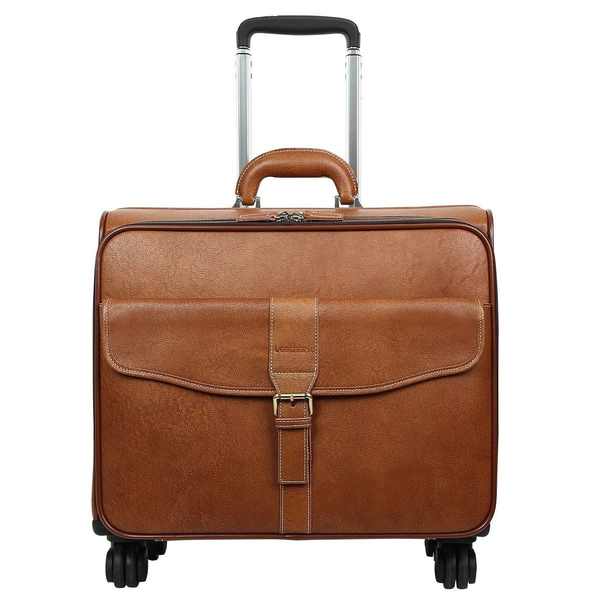 Leathario Leather Rolling Laptop Case Wheeled Briefcase Suitcase Roller Boarding Under Seat Case by Leathario