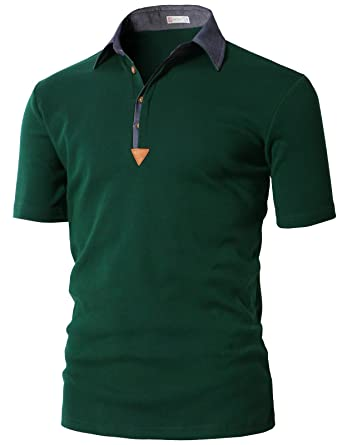 5cd099b97a H2H Mens Casual Open-Hem Sleeve Color Effect Collar Polo Shirts Green US S