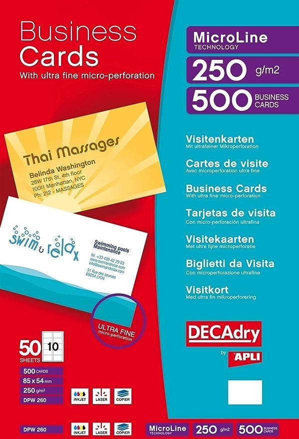 Apli DECAdry Pochette De 500 Cartes Visite Micro Perforation 85 X 54 Mm 250 G Blanc Amazonfr Fournitures Bureau