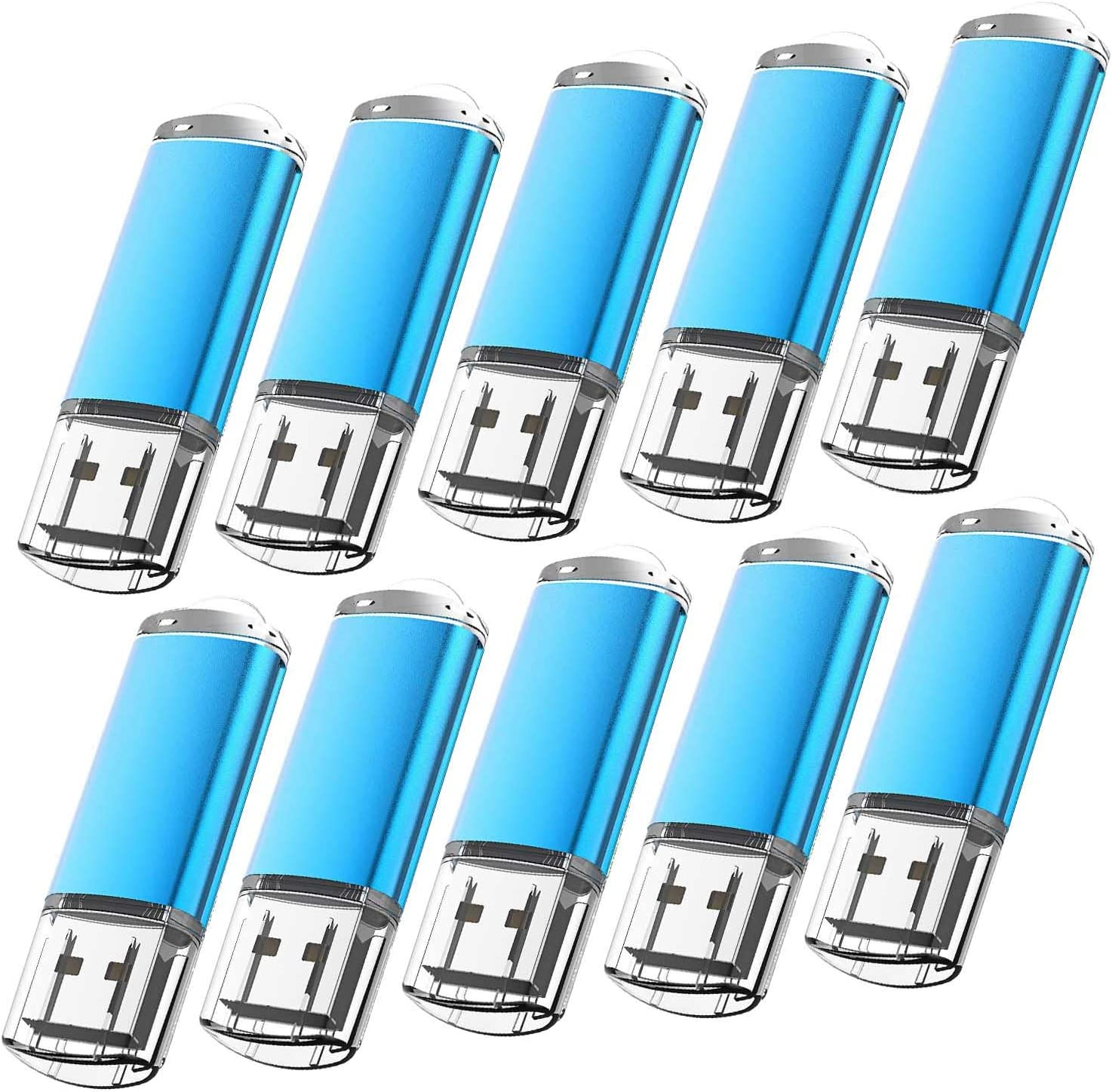 10 Pack Flash Drive 8GB USB 2.0 Thumb Drive Capped Memory Stick by Kootion, Blue