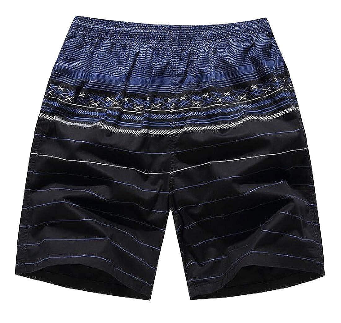 Joe Wenko Mens Sports Knee Length Elastic Waist Loose Fit Printed Board Shorts