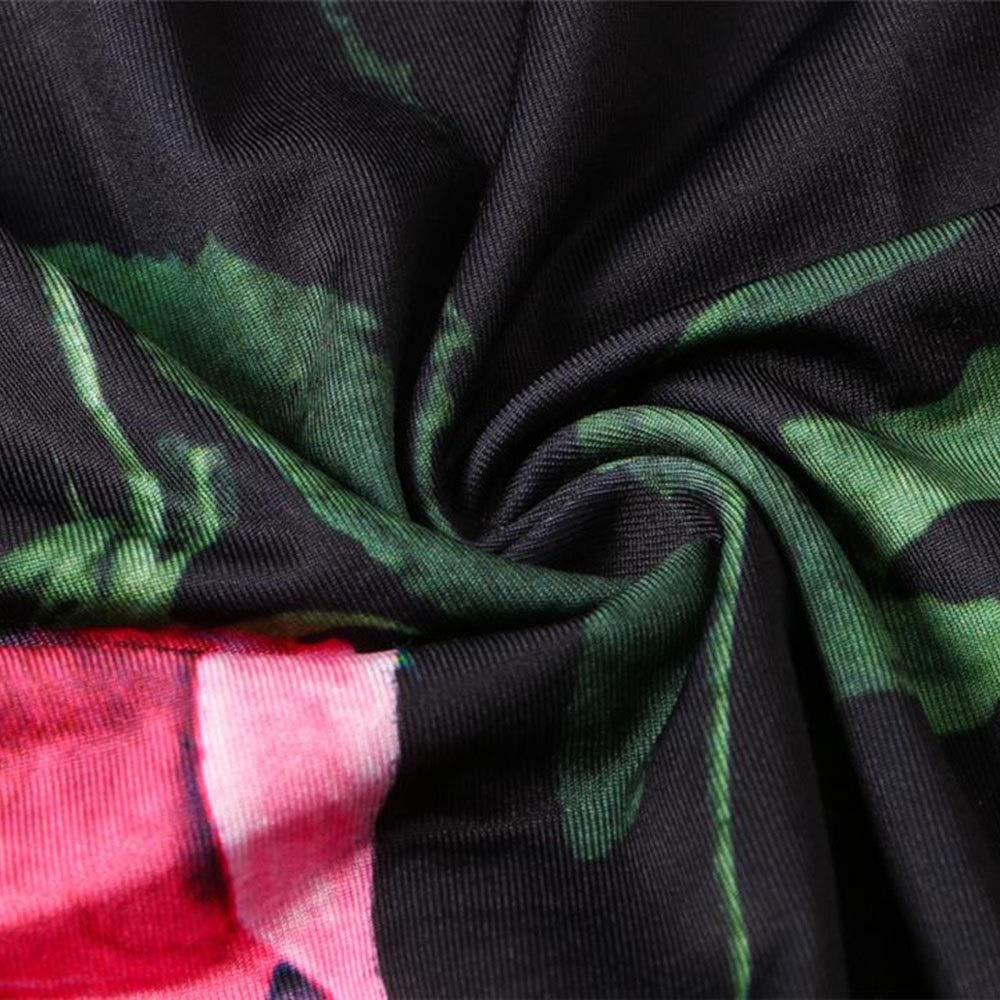 Pro-BikeUS Womens Long Sleeve Floral Printed Long Maxi Dress with Belt