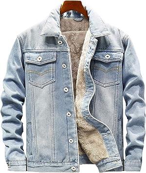 メンズプラスフリースデニムジャケット 厚手の温かみのあるキルティングジャケット ポケット付きボタン留め