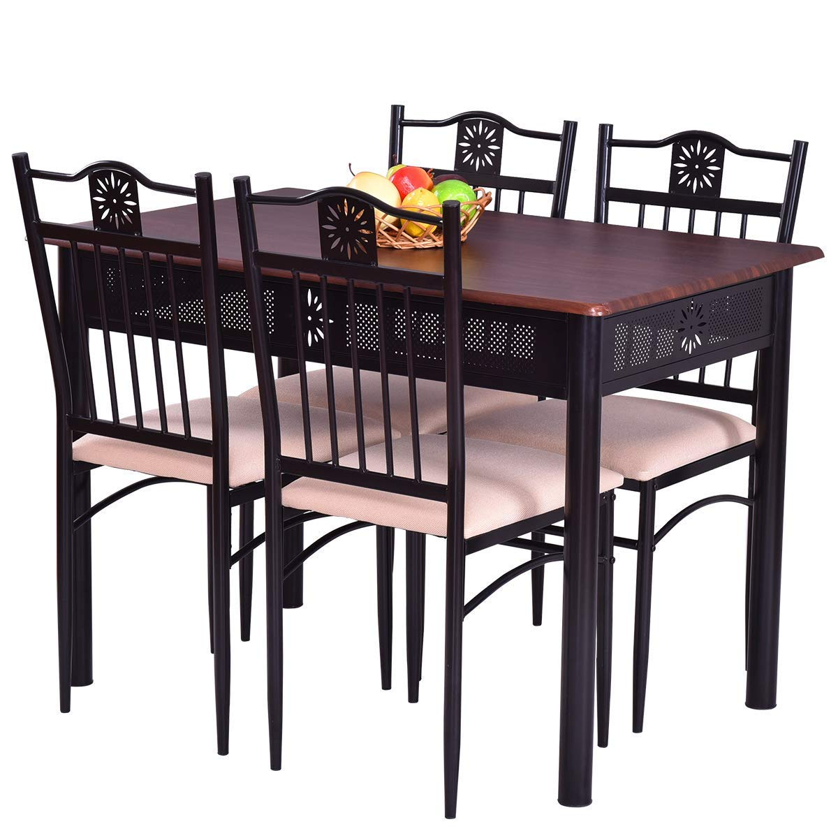 Casart 5 PCS Dining Table and Chairs Set Vintage Retro Wood Top Metal Frame Padded Seat Dining Table Set Home Kitchen Dining Room Furniture
