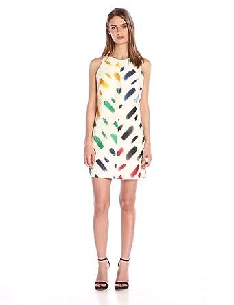 MILLY Women's Couture Brushstroke A-Line Shift Dress, Multi, 0