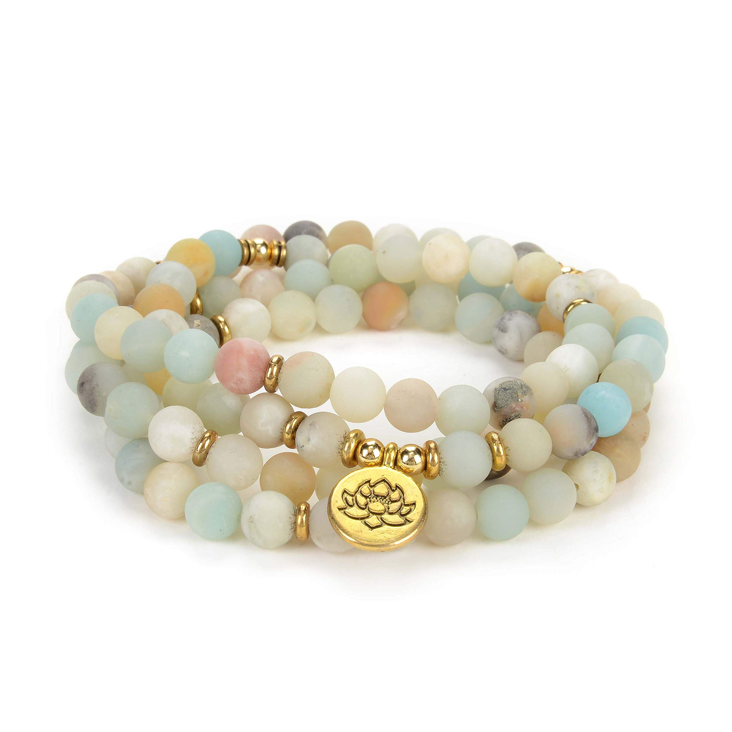Self-Discovery 108 Natural Beads Japa Mala Yoga Wrap Bracelet Necklace with Lotus Seed Charm for Prayer