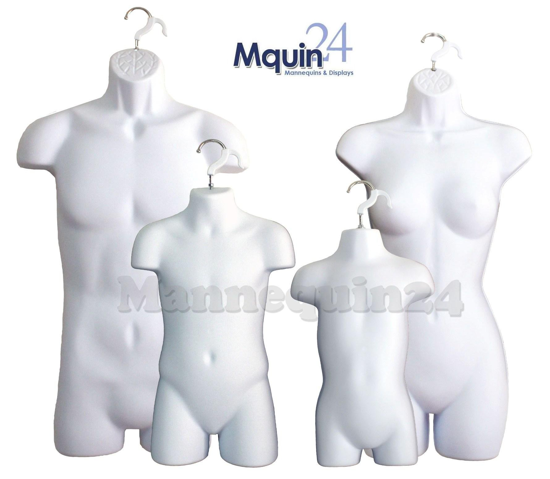 White Female Dress Male Child And Toddler Set - 4 Body Mannequin Forms