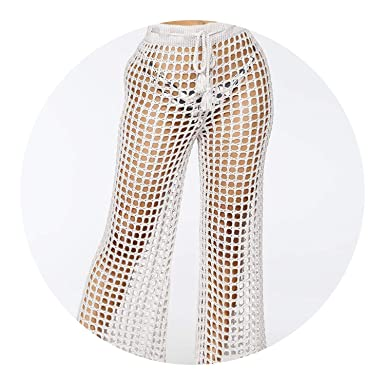 Crochet Pants Lace Hollow Out High Waist Sexy Lace Beach Loose Soft