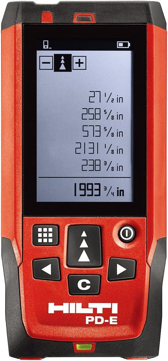 Hilti Medidor Láser de Distancia gama 200m/656ft PD e, Handheld telémetro gama Finder medida Diastimeter en exteriores, medición de relieve pantalla instrumento de medición