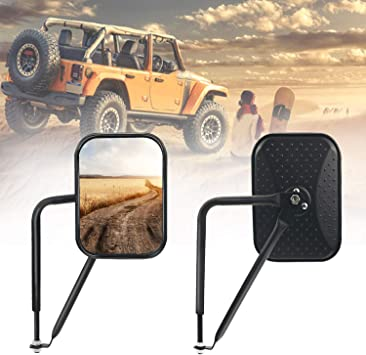 New Off-Road Rectangular Adventure Mirrors Door Hinge Mirror Kit Fits For Jeep