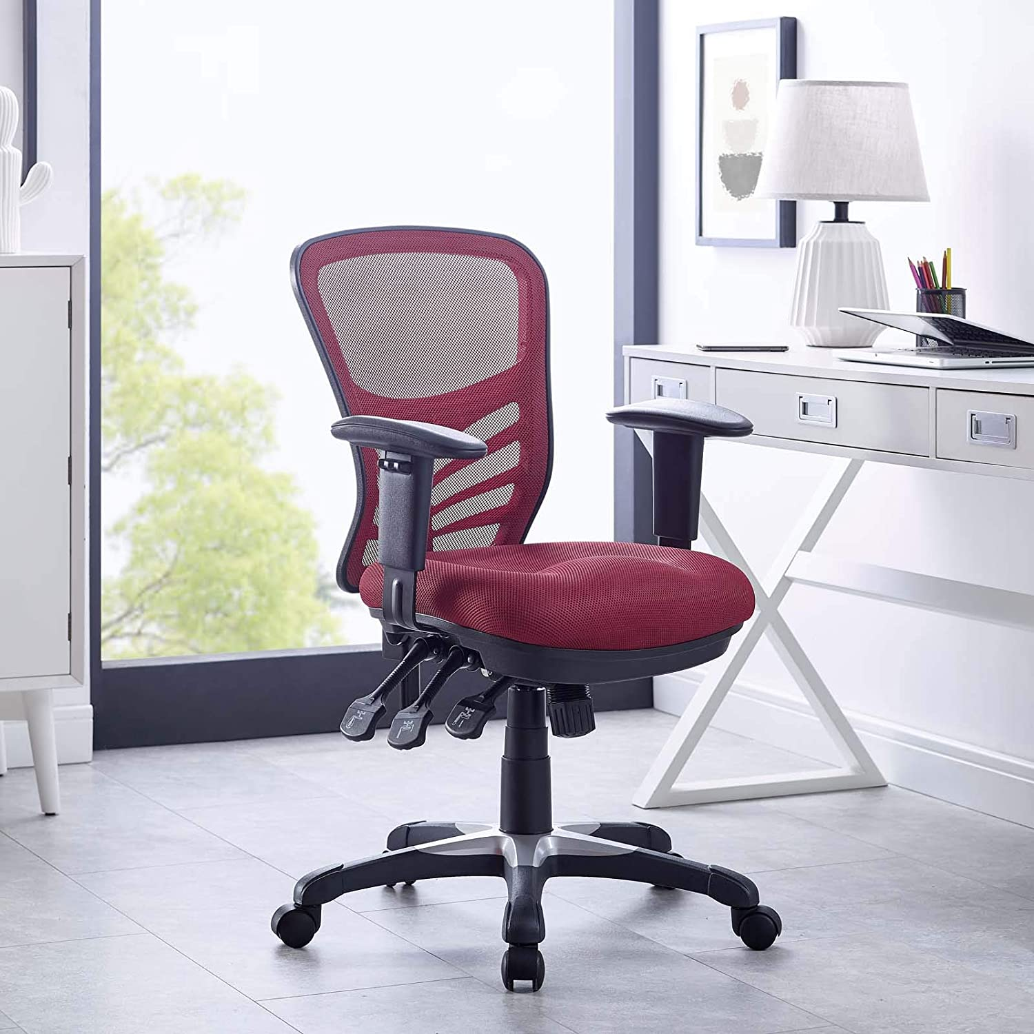 Amazon Com Modway Articulate Ergonomic Mesh Office Chair In Red Furniture Decor