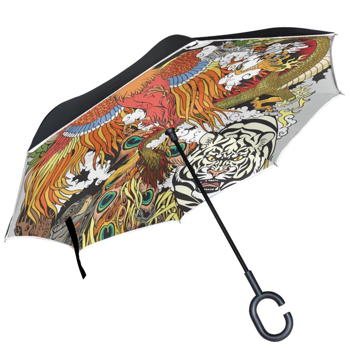 ALAZA céleste Animal Dragon Phoenix Tortue Tigre inversé Parapluie Double Couche Coupe-Vent Parapluie de l'envers