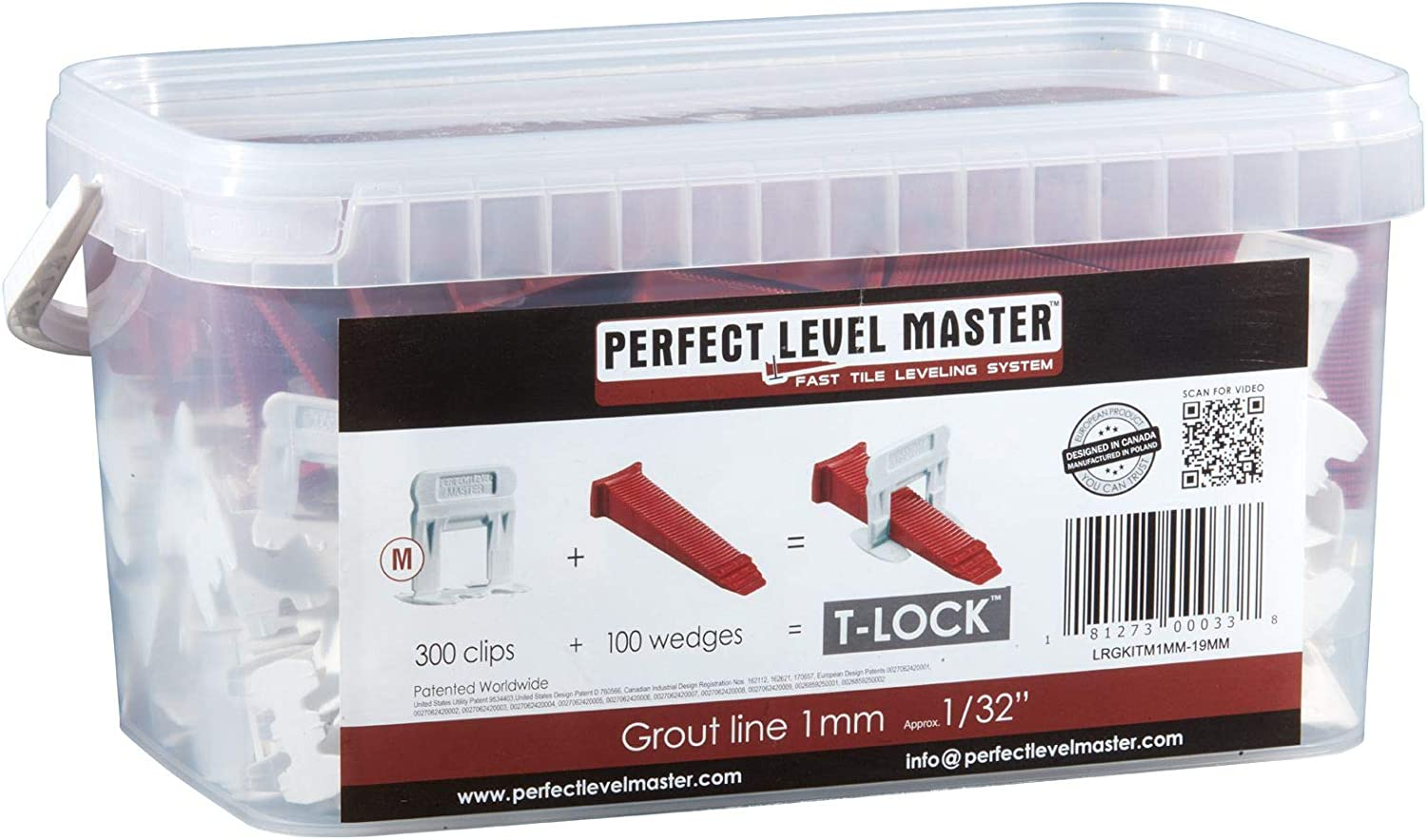"1/32"" T-Lock Complete KIT Anti lippage Tile Leveling System by PERFECT LEVEL MASTER 300 spacers & 100 Wedges in Handy Bucket ! Tlock"