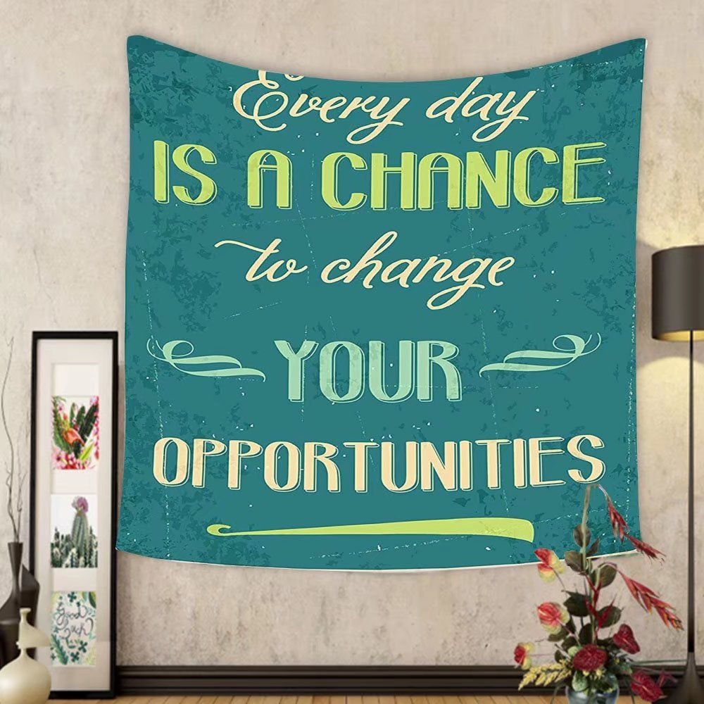 Gzhihine Custom tapestry Lifestyle Tapestry Every Day is a Chance to Change Your Opportunities Quote Retro Poster Print for Bedroom Living Room Dorm Jade Green Tan by Gzhihine