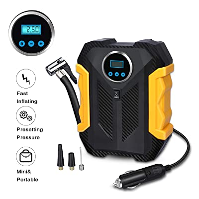 Digital Air Compressor for Car Auto Pump Portable Tire Inflator with LED Light DC 12V: Automotive