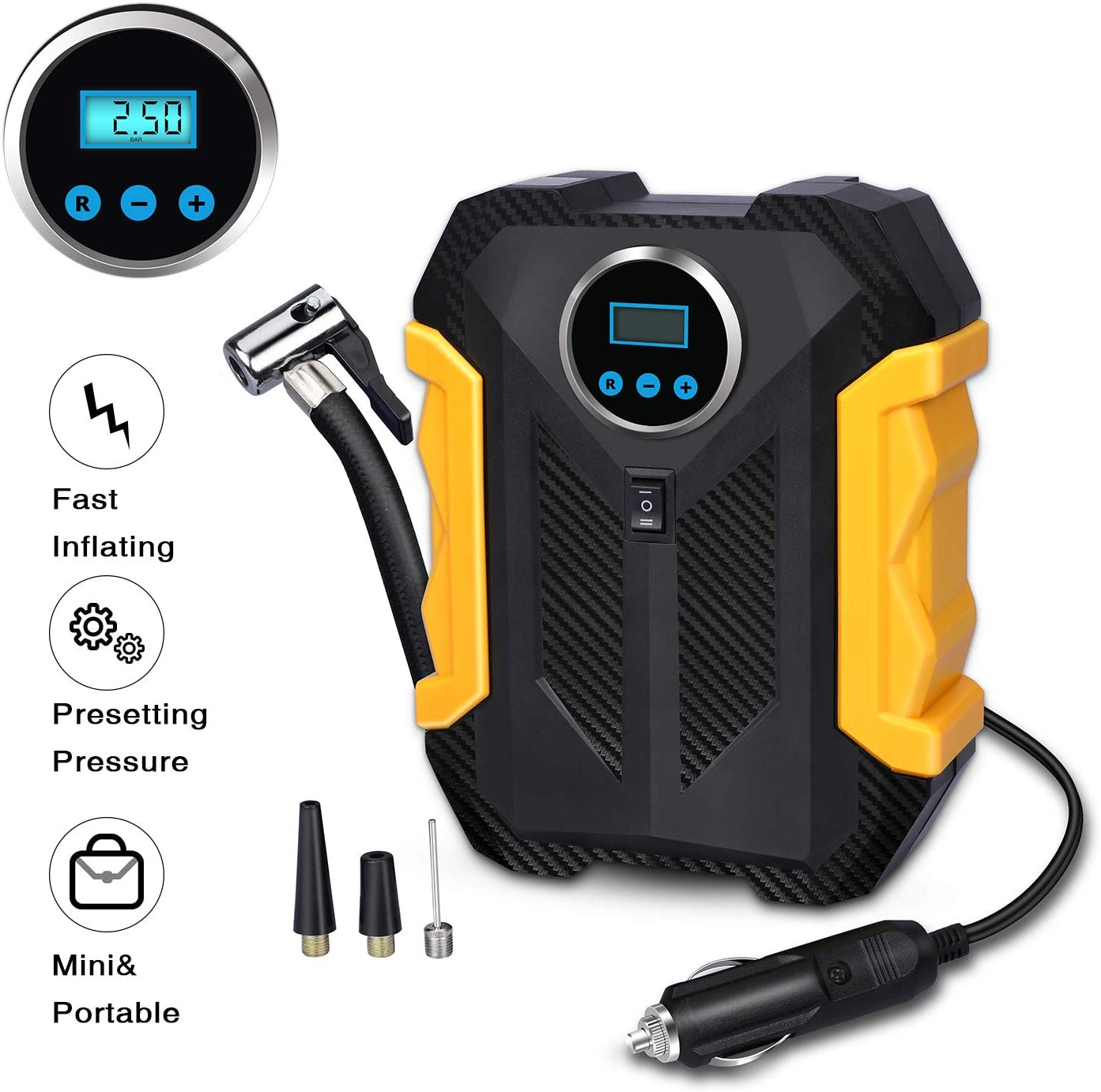 Digital Air Compressor for Car Auto Pump Portable Tire Inflator with LED Light DC 12V
