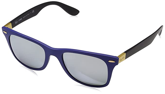 Amazon.com: Ray-Ban WAYFARER LITEFORCE - MATTE BLUE Frame GREY FLASH ...