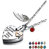 PREKIAR Heart Cremation Urn Necklace for Ashes Angel Wing Jewelry Memorial Pendant and 12 PCS Birthstones No Longer by My Side But Forever in My Heart