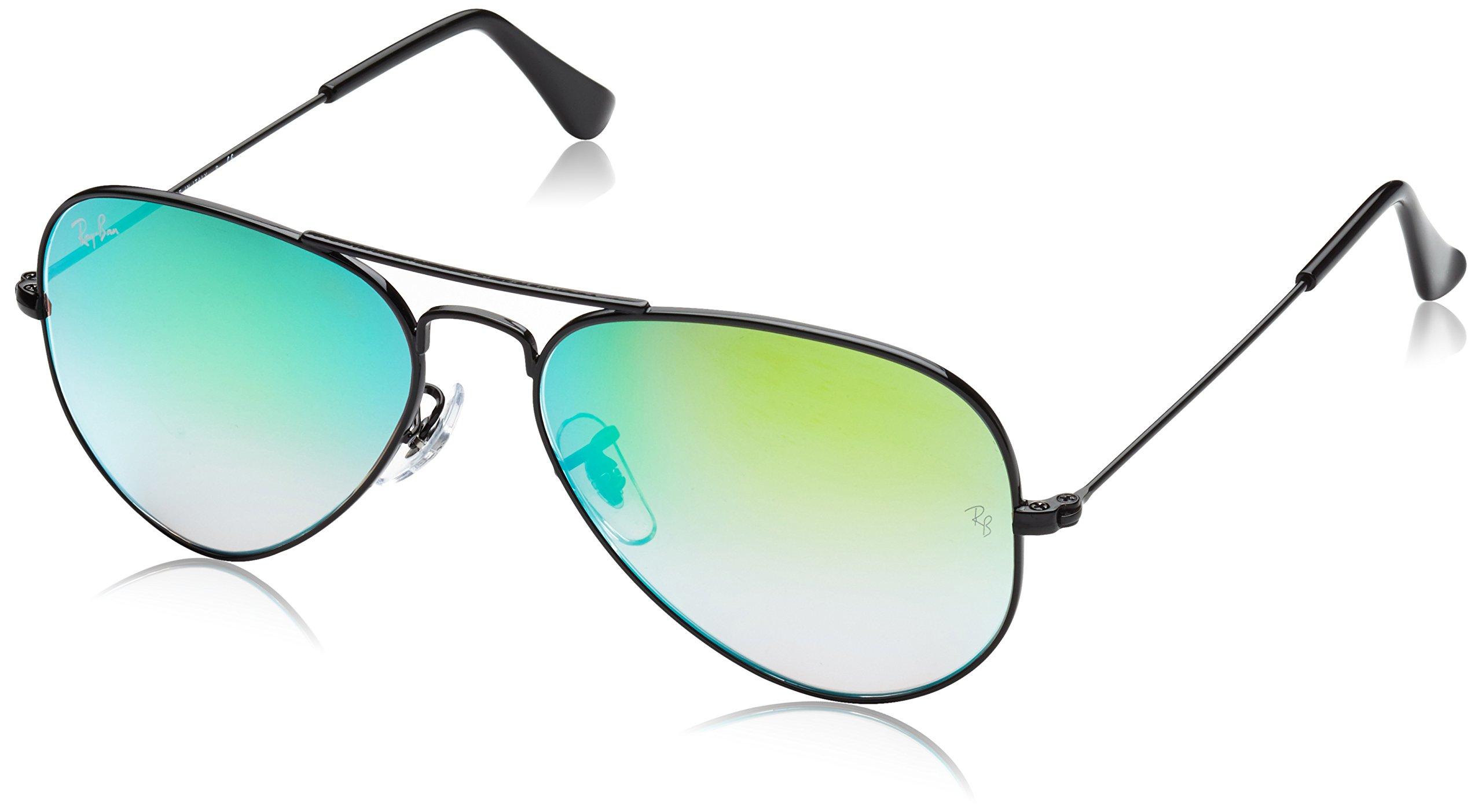 Ray-Ban 3025 Aviator Large Metal Mirrored Non-Polarized Sunglasses, Shiny Black/Mirror Gradient Green (002/4J), 55mm
