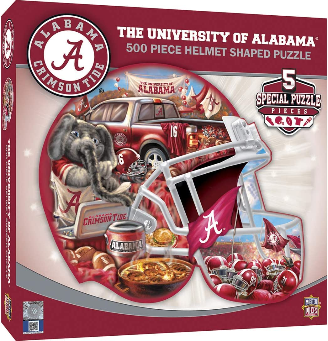MasterPieces NCAA Alabama Crimson Tide 500 Pieces Helmet Shaped Jigsaw Puzzle