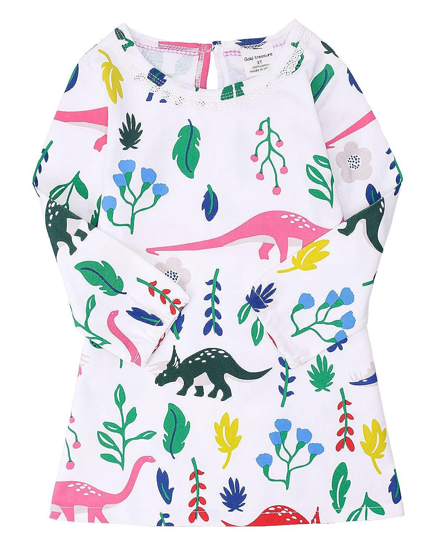 Baby Girls Long Sleeve Dress Print 100% Cotton Princess Dress Nightie Nightdress Pyjamas Set 2-7 Years
