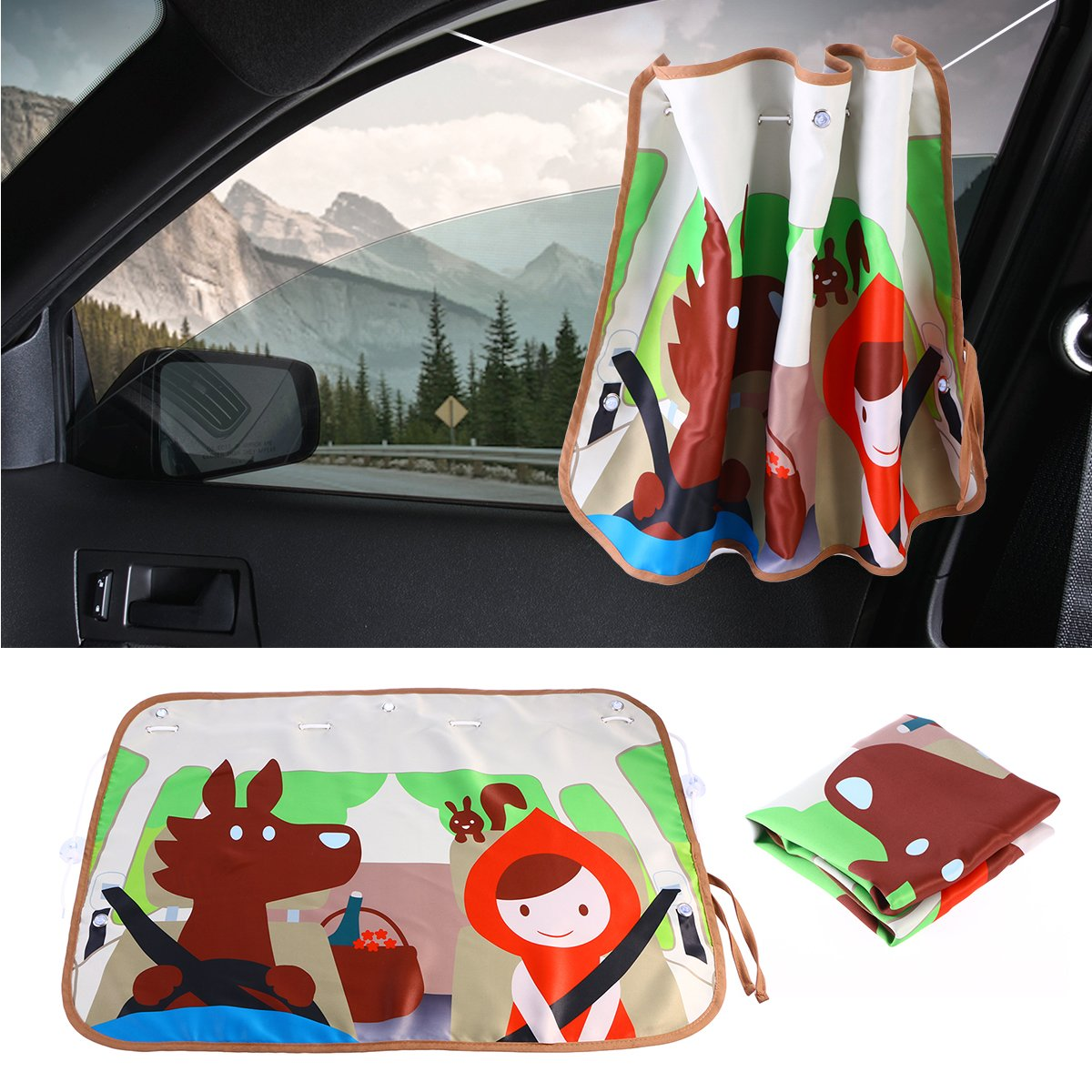 WINOMO Cute Cartoon Car Window Sun Shade Visor UV Rays Block Sun Protector Caperucita Roja y lobo