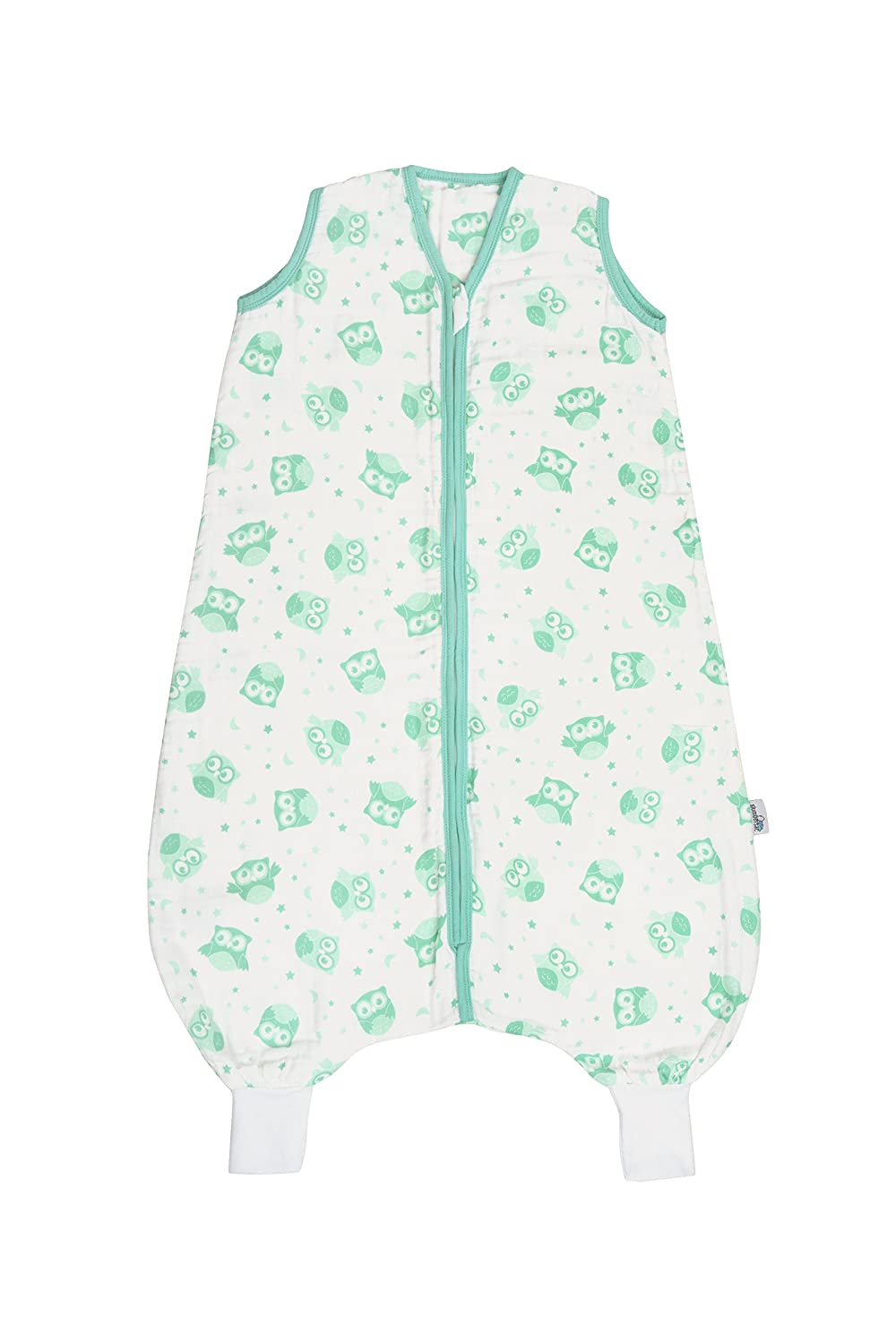 Slumbersac Muslin Sleeping Bag with Feet approx. 0.5 Tog - Mint Owls- 18-24 Months/90cm