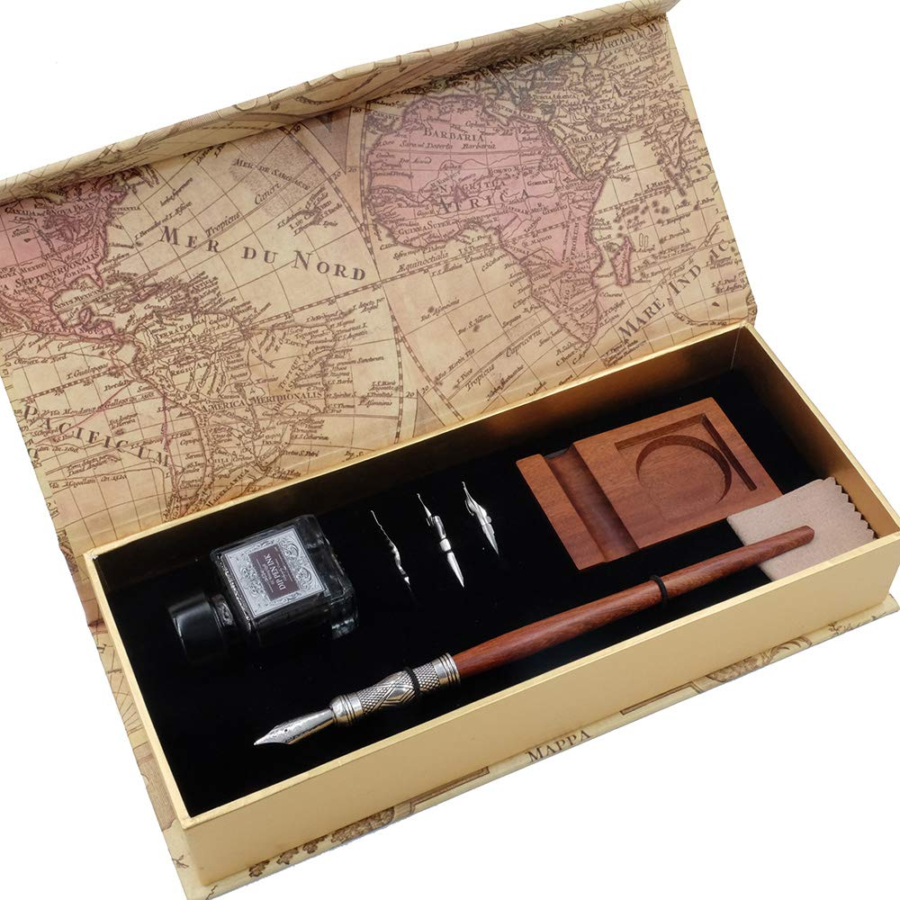 GC Antique Wooden Stem Pen Handcrafted Calligraphy Pen Set Dip Nib Pens-Writing Case With Black Ink Pen Wooden Holder Cartridges LL-182 by GC QUILL