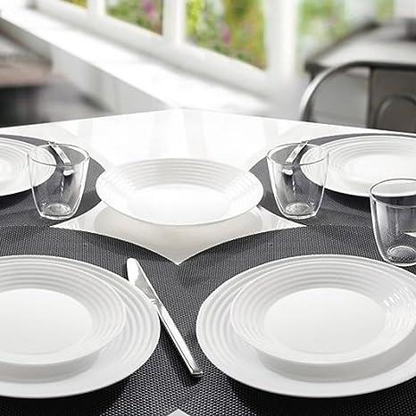 Piatti In Arcopal.White Dinner Service 18 Pieces Arcopal Hard Glass Set