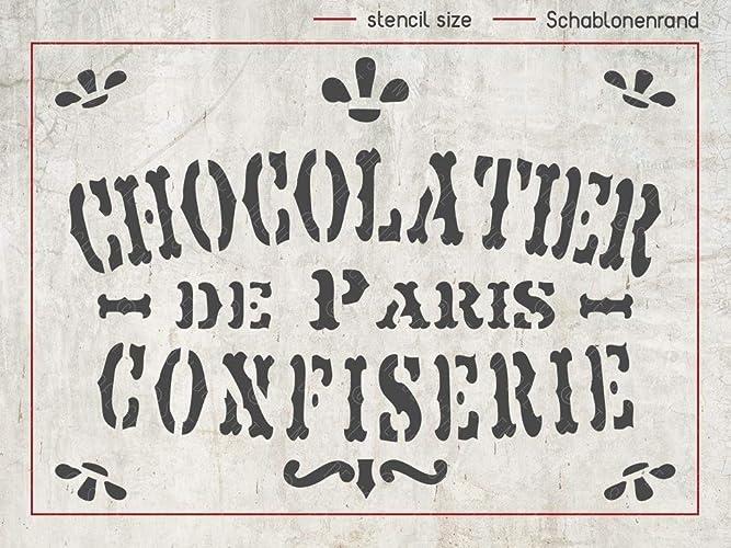 Schablone Chocolatier De Paris Deko Stencil Shabby Chic Deko