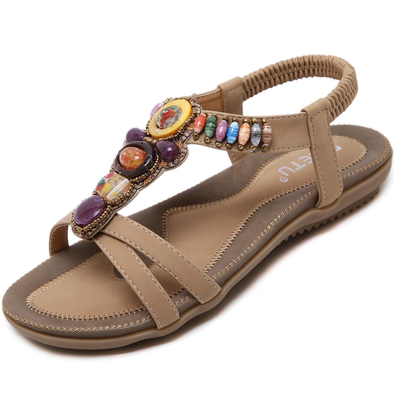 katliu Damen Sommer Sandalen Bouml;hmische Zehentrenner Sommerschuhe Frauen Flach Outdoor Schuhe  44 EU|Braun