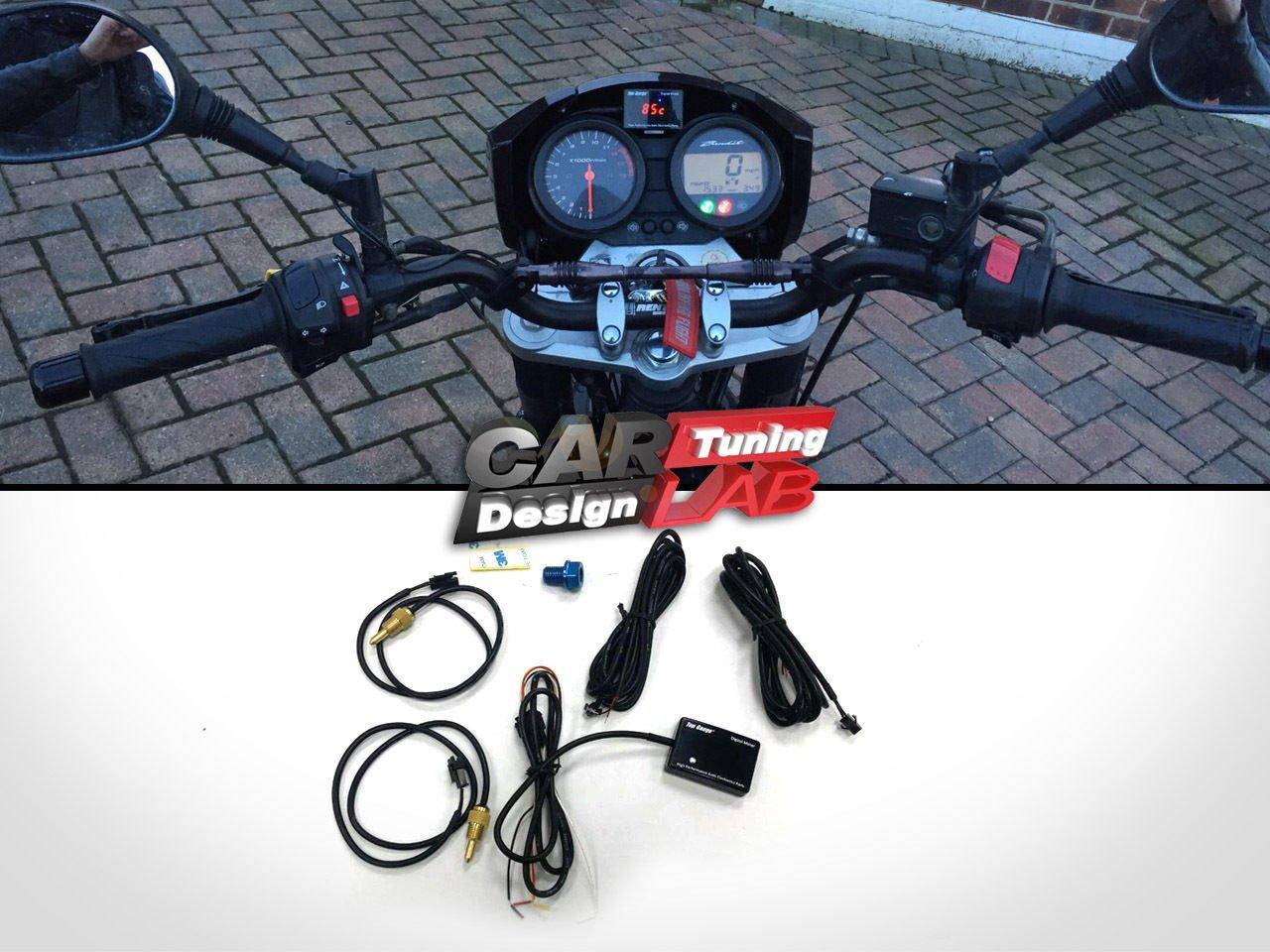 Medidor Digital 3 en 1 para motocicleta: temperatura del agua, del aceite y voltí metro, pantalla LED, impermeable CarLab