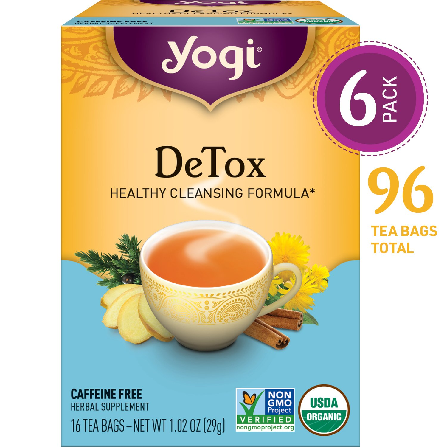 Yogi Tea - DeTox Tea - Healthy Cleansing Formula With Traditional Ayurvedic Herbs - 6 Pack, 96 Tea Bags Total by Yogi