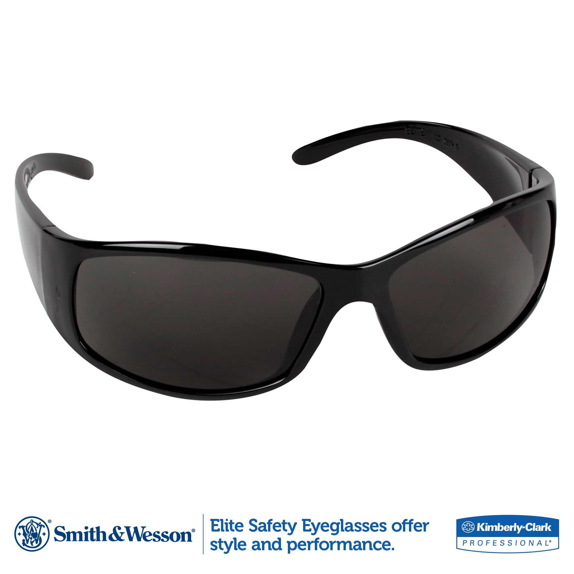 Smith and Wesson Safety Glasses (21303), Elite Safety Sunglasses, Smoke Anti-Fog Lenses with Black Frame, 12 Pairs / Case by Jackson Safety (Image #2)
