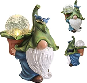 Garden Gnome Statue - Resin Gnome Figurine Carrying Magic Orb with Solar LED Lights, Outdoor Winter Decorations for Patio Yard Lawn Porch, Ornament Gift,Size 10.7in×8.5in×5.4in