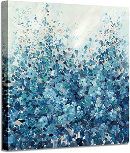 Abstract Flower Canvas Wall Art Blue Floral Picture Hand Painted Painting on Canvas for Bedroom 24 x 24 x 1 Panel