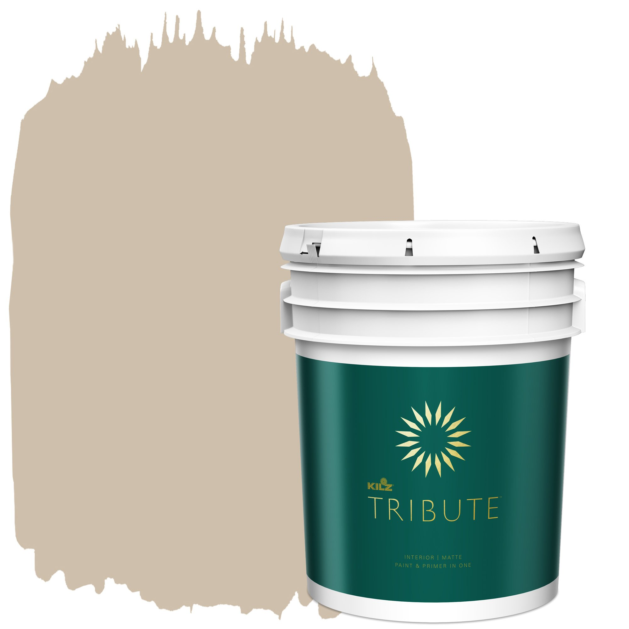 KILZ TRIBUTE Interior Matte Paint and Primer in One, 5 Gallon, Bronze Mist (TB-13) by KILZ