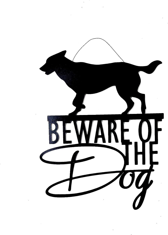 """Dog Metal Decor Sign Plaque Door Wall Room Fence Beware Decoration Black Matte Indoor Outdoor 12""""x15"""""""