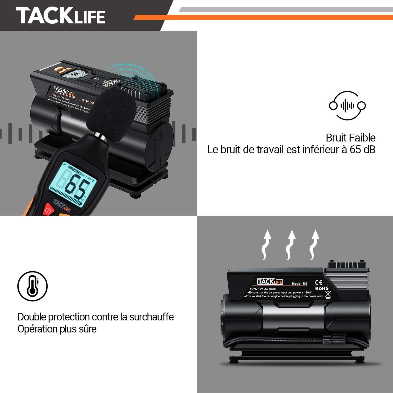 LED Lampe TACKLIFE ACP1C Compresseur d/'Air Voiture 4 adaptateurs de buse et un fusible 150PSI Mini Compresseur Portable avec Grand LCD /Écran Gonfleur Electrique de Pneu 12V Garantie de 2 ans