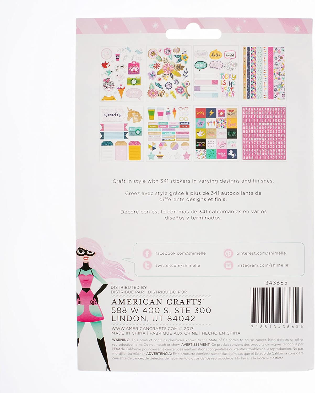 "American Crafts Sticker Book 4.75/""X8/"" 30//Pkg-Shimelle w//Holographic Foil"