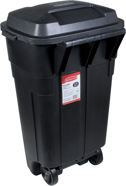 Rubbermaid Roughneck Heavy-Duty Wheeled Trash Can, 34-Gallon, Black