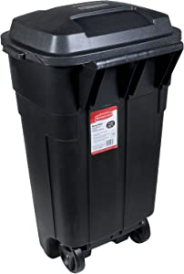 Rubbermaid Roughneck Heavy-Duty Wheeled Trash Can, 34-Gallon, Black