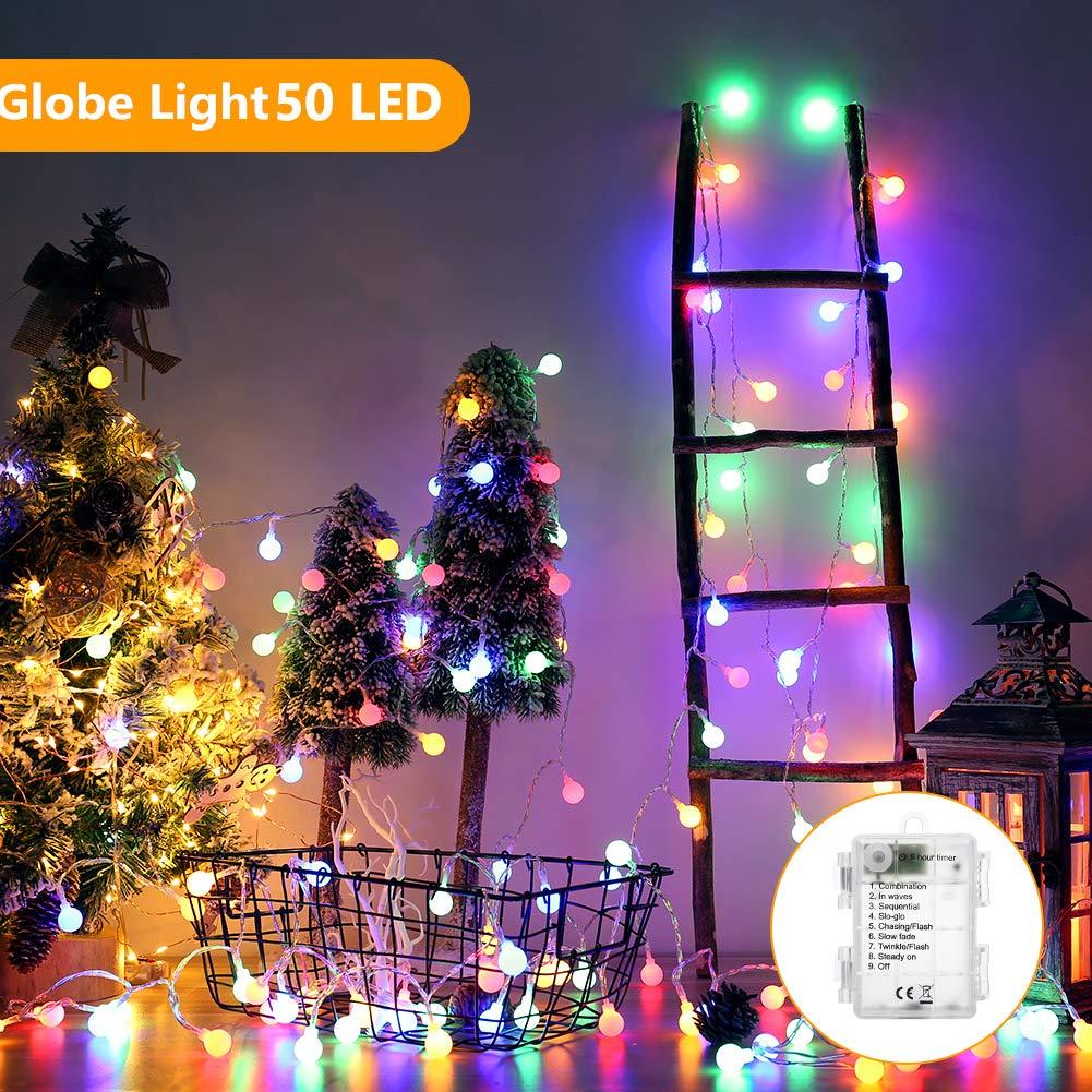 BrizLabs Catena Luminosa Globo 5M 50 LED Luci Stringa Natalizie 8 Modalit/à di Illuminazione Impermeabile Casa Esterno Bulbo Lampade per Interne Matrimonio Multicolore Festa Giardino