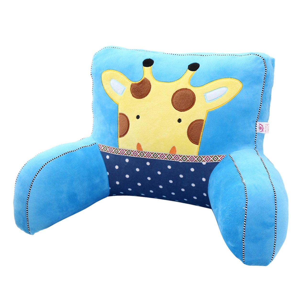 Adorable Blue Giraffe Lumbar Support Backrest Pillow Waist Seat Back Cushion Pillow in Home Office School Car