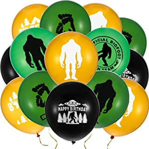 60 Pieces Bigfoot Balloons Believe Bigfoot Official Birthday Balloons Latex Balloons for Bigfoot Birthday Party Supply Decoration, 12 Inch
